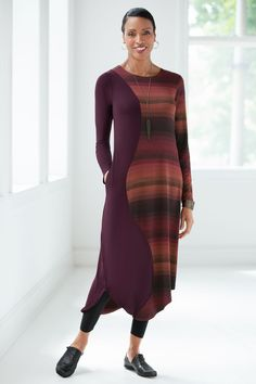 Sedona Dress by Spirithouse. We love the casual drama of this super-comfy dress. A wavy seam creates shapely allure, while richly colored stripes add further appeal to an effortless, stretchy knit fabric that is a dream to wear.
