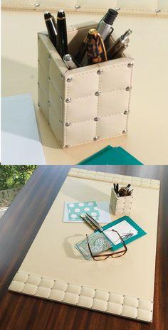 Trendy Home Office Luxury Desk Ideas Home Office Organization, Home Office Desks, Organization Ideas, Picture Room Decor, Leather Desk Pad, Desk Redo, Desk Organizer Set, Home Office Accessories, Trendy Home