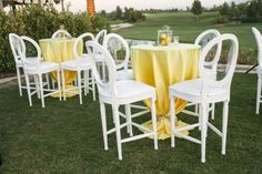 high cocktail tables covered in yellow linens during the reception. Cocktail Table Decor, Cocktail Tables, Reception Decorations, Event Decor, Reception Ideas, Yellow Tablecloth, Cocktail Wedding Reception, Wedding Receptions, Wedding Knot