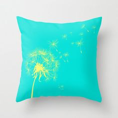 Teal and Yellow Dandelion Throw Pillow Cover