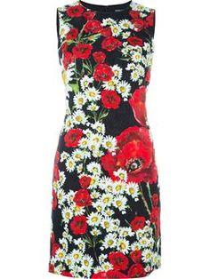 daisy and poppy print dress