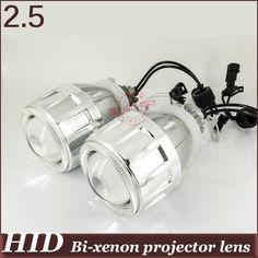 2.5'' Bi-xenon Projector Lens white blue purple yellow green Angel Eye Suit for H4h/l H1h/l H7h/l 9005h/l 9006h/l demon eyes