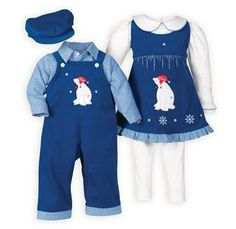 237ac0de3f0 Plaid Perfection Brother Sister Outfits. Royal Arctic Polar Bears Matching  Outfit Twin Outfits