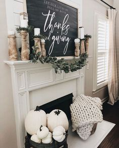 Transitioning from Summer to Fall home decor ideas: Fall signs, Fall florals, pumpkins, Fall scents, and cozy layers! Fall Mantel Decorations, Thanksgiving Decorations, Seasonal Decor, Holiday Decor, Thanksgiving Mantle, Mantle Ideas, Thanksgiving Ideas, Balloon Decorations, Christmas Decorations