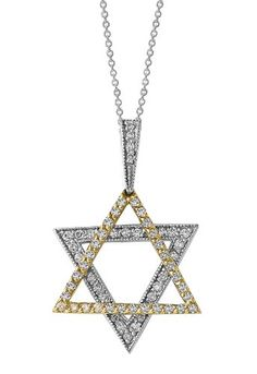 Pave Classica Two Tone Diamond Star of David Pendant by Effy...