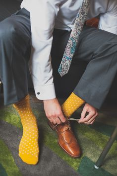 A Whimsical Urban Chicago Wedding Groom Socks, Groom Fashion, Colorful Socks, Urban Chic, Groom Style, Chicago Wedding, Industrial Wedding, Loafers Men, Our Wedding