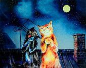 Giclee 8x10in, А4,A3,  medium, large PRINT, Serenade , cat duet, Watercolor PRINT, funny animals, Art Print, nursery art