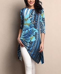 Look what I found on #zulily! Blue Floral Sidetail Tunic #zulilyfinds