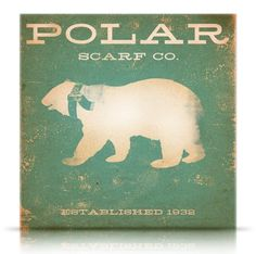 Polar Bear Scarf Company vintage style artwork on canvas original LIMITED…