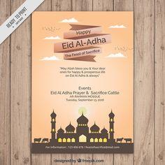 Simple brochure of eid al-adha with mosque Free Vector