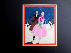Unused Art Deco Pochoir Xmas Greeting Card from France Lovers Skating in Snow | eBay