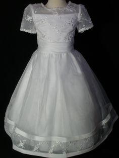 New Girl 1st Communion Wedding Flower Girl Formal Party Dress White Size 6 7   eBay