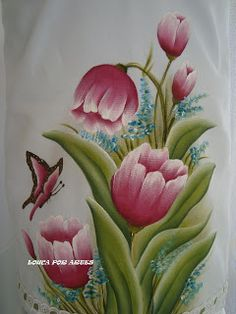Louca por Artes: CAPA PARA GALÃO DE ÁGUA China Painting, Tole Painting, Fabric Painting, Flower Images, Flower Art, Saree Painting, Fabric Paint Designs, Fruit Picture, Beautiful Flowers Wallpapers
