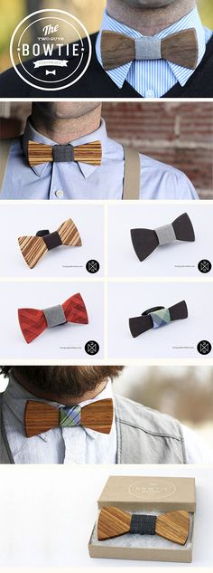 Wooden bow ties for the groomsmen. Makes me want to jump into the workshop right now and craft some of these puppies with my calloused man-hands. Mode Masculine, Look Fashion, Mens Fashion, Look Formal, Wooden Bow Tie, Tie And Pocket Square, Pocket Squares, Classic Man, Suit And Tie