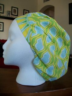 Lime and Aqua Scrub Caps by fadendesignstudios on Etsy, $17.99