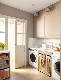 My Ideal Home, Stacked Washer Dryer, Diy Bedroom Decor, Home Decor, Mudroom, Washing Machine, Laundry Room, New Homes, Home Appliances