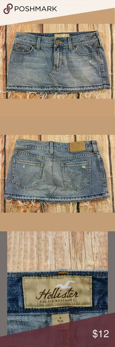 """Hollister Jean Mini Skirt Junior Size 3 Distressed Hollister Jean Mini Skirt Womens Size 3 Distressed  Measurements: Waist: 28"""" Length:  11""""  Condition:  Great Pre-Owned Condition from clean pet/smoke free home. Hollister Skirts Mini"""