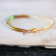 Yellow Sapphire Beaded Bracelet Ombre Gemstone by ShopClementine