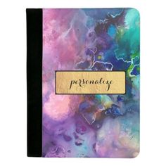 """Ink colorful purple gold texture pattern paint padfolio on zazzle.com, for ($24.95). Look professional and stylish with a custom padfolio. Featuring a pen holder slot, pocket for notes, business card slots, and a pad of perforated paper. -Dimensions: 12.5""""l x 9.5""""w x 0.75""""h -Polyester construction is durable and allows for full color designs-Lined inner pockets help capture loose papers and includes 2 business card slots-Lined perforated notepad included-Includes pen holder slot."""