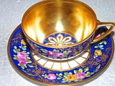 Rare Antique Dresden Germany Enamel Roses Gold Tea Cup and Saucer in Antiques
