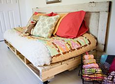 Click Pic for 50 DIY Home Decor Ideas on a Budget - Pallet Day Bed - DIY Crafts for the Home