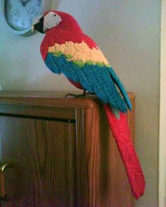 origami Macaw by =dfoosdc on deviantART Mais Origami Parrot, Origami Cat, Origami Artist, Origami And Kirigami, Origami Animals, Paper Crafts Origami, Origami Birds, Origami Ideas, Origami Turkey