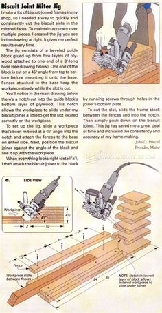 Biscuit Joint Miter Jig - Biscuit Joiner Tips, Jigs and Fixtures Woodworking Jointer, Woodworking Plans, Woodworking Projects, Diy Projects Engineering, Biscuit Joiner, Wood Joints, Popular Woodworking, Biscuits, Joinery
