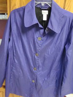 $9.99 Clearance  CHICOS JACKET Womans 2 MEDIUM M 12 14 Smock Shirt Long sleeve PuRpLe Chico's #Chicos #BasicJacket