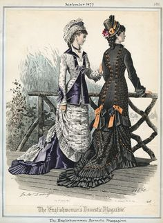 Day/Walking Dresses, September 1877 (source: Casey Fashion Plates @ LA Public Library)