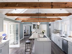 """interior-design-home: """"Relaxed coastal kitchen with cathedral ceilings and beams in Cape Cod, MA """" Kitchen Island Decor, Home Decor Kitchen, New Kitchen, Kitchen Ideas, Kitchen Islands, Kitchen Backsplash, Barn Kitchen, Kitchen Hoods, Shaker Kitchen"""