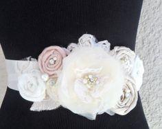 Chamagne Sash, Bridal Sash, Blush Pink Sash,Wedding Sash, Ivory/Champagne Bridal Sash, Wedding Accessory, Bridal Accessory, Floral Sash,Sash