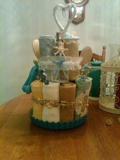 Kitchen Kake for Bridal Shower.... Full of Towels, Pot Holders, Utensils, in Beach Theme
