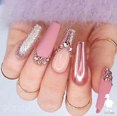 Handmade High End Luxury Press On Nails Available in any shape and length Durable & Reusable ***Ordering a sizing kit is HIGHLY recommended when ordering Pixie nails for the first time, or when trying a new shape/length that you haven't tried before*** Cute Acrylic Nail Designs, Pink Nail Designs, Chrome Nails Designs, Rose Gold Nail Design, Nail Crystal Designs, Beautiful Nail Designs, Best Nail Designs, Art Designs, Simple Designs