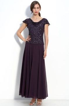 Free shipping and returns on J Kara Beaded Mock Two Piece Chiffon Dress (Regular & Petite) at Nordstrom.com. Chiffon fashions a floor-sweeping dress topped with a bead- and sequin-embellished bodice, gently draped at both the front and back neck. The flowing A-line skirt is visually balanced by sheer, fluttering cap sleeves.
