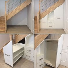 understairs storage Installation under stairs - Our Cadence GI from NotreMaisonPi . Staircase Storage, Stair Storage, Staircase Design, Küchen Design, House Design, Under Stairs Cupboard, House Stairs, Basement Stairs, Basement Remodeling