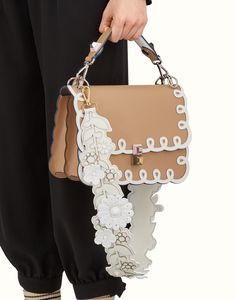 FENDI STRAP YOU - Shoulder strap in white leather with flowers