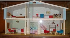 BRIO Alphyddan (Alpine cabin) doll's house, 1966. Love the furnishings!