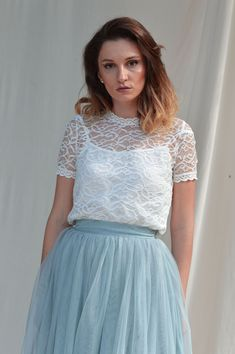 Ivory lace top, Short sleeve lace top, Wedding lace top, Plus size top Bridesmaids Lace crop top Bridal lace top