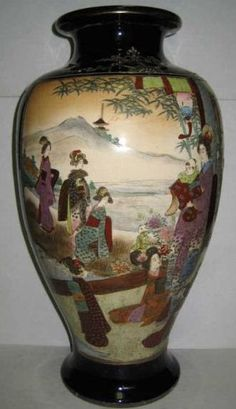 A Satsuma pottery, Japanese vase, baluster form, two panels with mostly female figures outdoors, or in landscape, within cobalt blue ground, gilt highlights, Meiji period, circa 1868-1912
