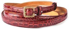 Exotic belt made of glazed Red Cartier Alligator flank skin, 2.5cm ( 0.98in ), 2.0cm ( 0.79in ) or 1.5cm width ( 0.60in ), tapered-tip strap with edge stitching (leather color matching or custom color), lined with natural calf shoulder (natural tanning). Embellished with 925‰ Sterling Silver emblem on belt loop. https://www.casanova1948.com/en/exotic-belts/exotic-glazed-cartier-red-alligator-ladies-belt-97.html