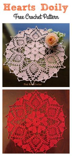 Crochet-a-long Hearts Doily Free Patterns These Hearts Around Doily Free Crochet Patterns work up very quickly and only require little bit of yarns. Free Crochet Doily Patterns, Crochet Doily Diagram, Crochet Doilies, Crochet Hearts, Crochet Rugs, Freeform Crochet, Knitting Patterns, Thread Crochet, Crochet Stitches
