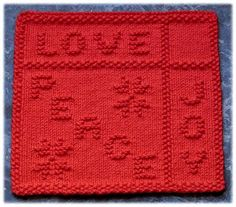 """""""Peace, Love and Joy"""" """"Holiday Window"""" """"Letter To Santa"""" Knit Dishcloth Pattern """"Peace, Love and Joy"""" """"Holiday Window"""" """"Letter To Santa"""" Knit Dishcloth Pattern History of Knitting Yarn spinning, weavi. Knitted Squares Pattern, Knitted Washcloth Patterns, Knitting Squares, Knitted Washcloths, Dishcloth Knitting Patterns, Knit Dishcloth, Knitting Charts, Knitted Blankets, Knitting Stitches"""