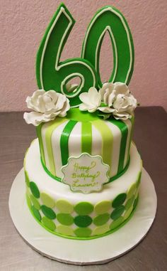 Happy 60 in Spring Green by Frosted Art Bakery
