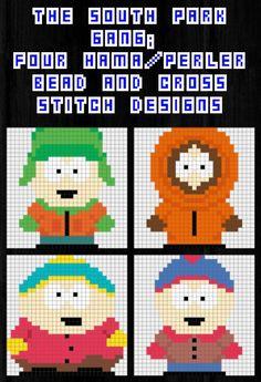 South Park Hama, Perler & Cross Stich Designs - Kyle, Kenny, Stan & Cartman