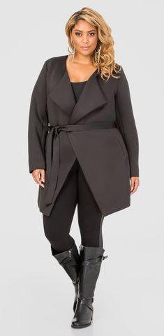 Plus Size Belted Neoprene Jacket