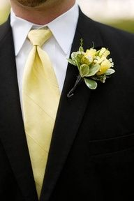 2013 Pantone Color | Lemon Zest - Yellow tie and rose boutonniere - #pantone #lemonzest #grooms #menswear