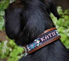 Personalized Leather Beaded Dog Collar | Etsy Beaded Dog Collar, Dog Collars, Pup, Trending Outfits, Unique Jewelry, Handmade Gifts, Dogs, Leather, Accessories