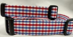 Red White and Blue Gingham Dog Collar by HalasPaws on Etsy