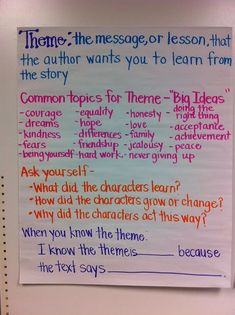 "Teaching about theme - some great ideas here.  I don't like the one word ""themes"" on the one anchor chart since they don't correspond to the definition of theme (""the message, moral or lesson...""), but there are some excellent ideas for teaching theme and assessing it here."