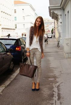 Forever21 Vests, Zara and Vintage Jewelry. Louis Vuitton Neverfull handbag. Love this look!